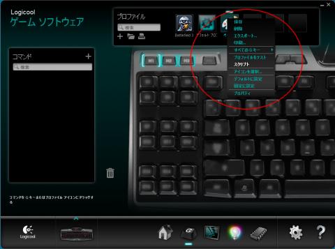 プロファイルのペイントを右クリックしてスクリプトを選択します