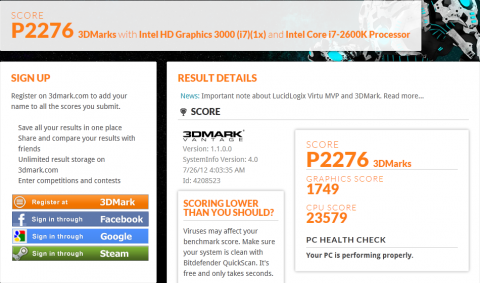 Core i7-2600K HD Graphics 3000