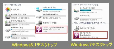 両Windowsにリンクケーブルのアイコンが表示されました