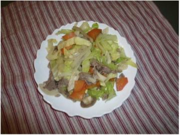 キャベツ、タマネギ、人参に豚肉を使って野菜炒め