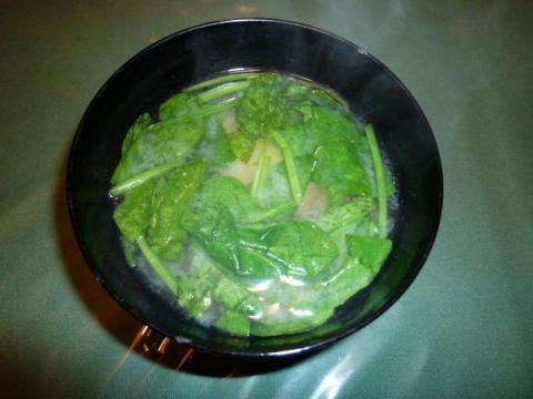 ほうれん草と小松菜のお味噌汁
