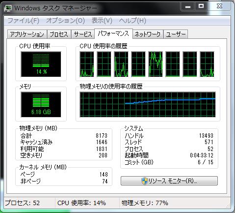 コンポジット合成中 0.3GB増加