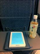 特急列車の車内で読書