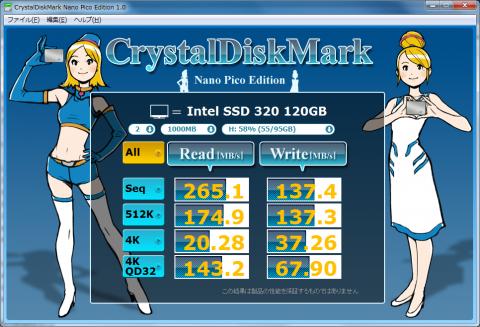 Intel SSD 320 120GB (ランダム) SATA2接続