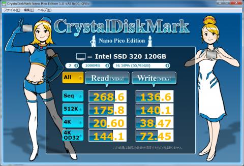 Intel SSD 320 120GB (0Fill) SATA3接続