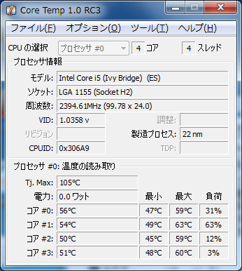 CoreTemp i5-3570K@2.4GHz