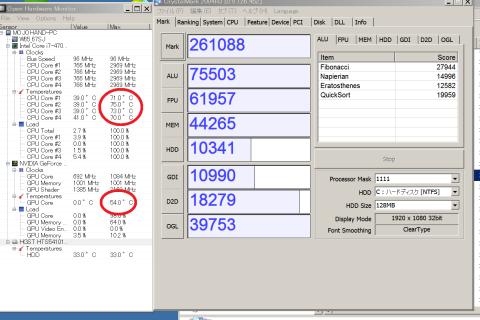 Cristal Mark2004R3計測時の数値と温度