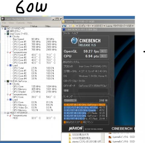 CINEBENCH NVIDIA GeForce GTX 850M 消費電力60W
