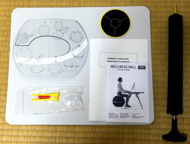各言語の説明書と組立ての概略図、組立用の厚紙のパーツと空気止めのピンと自転車用空気入れを使用するためのピン
