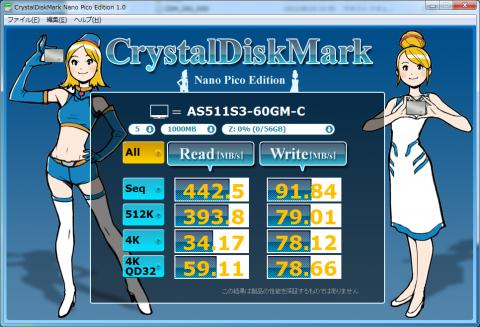 Crystal Disk Mark 結果(S511 60GB)