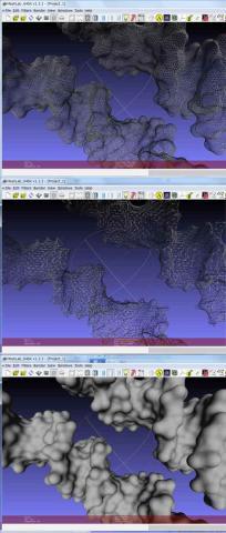 3Dプリントモデルのシェル化上表面、中計算した内側、下サーフェスモデル