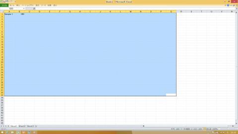 Excel表示青いエリアは11インチMacBook AirでExcelを100表示した場合
