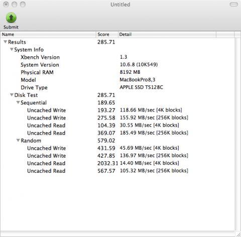 こちら換装前 SATA 2.0 でのXbenchのDisk Test結果