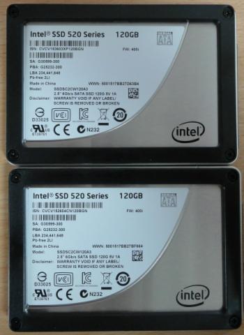 Intel SSD 520 120GB x2