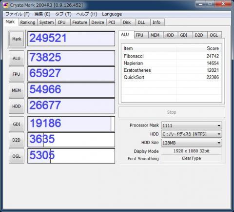 Core i7 2600K Crystal Mark 2004R3