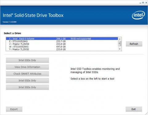 SSD ToolboxでもRAIDドライブはサポートされない