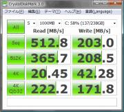 ストライプサイズ64KB化、20%スペアエリア確保、Trim後アレイ組み直しシステム転送直後