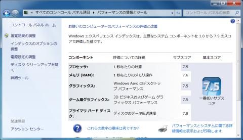 ノートPCなのに驚きの7.5!!!