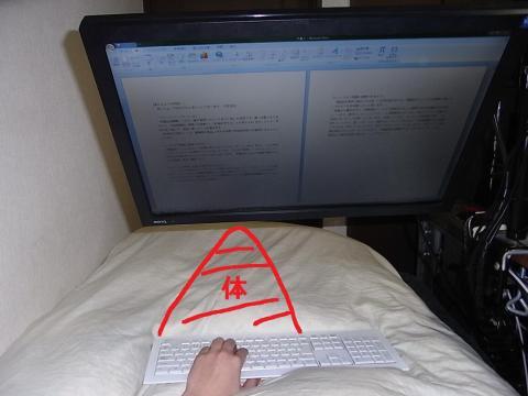 ベッドでアームに吊られたモニターを見ている図