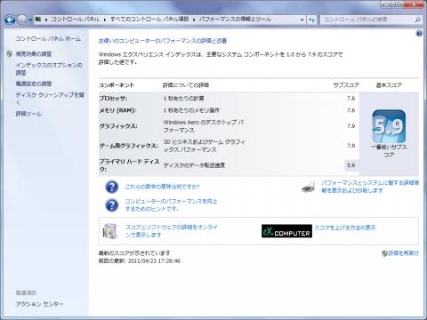 Windows7 パフォーマンス