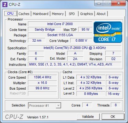 CPU-Z:core i7 2600