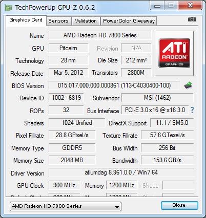 Radeon HD 7850接続時のGPU-Z