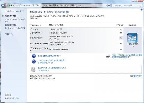 Windowsエクスペリエンス(SSD)