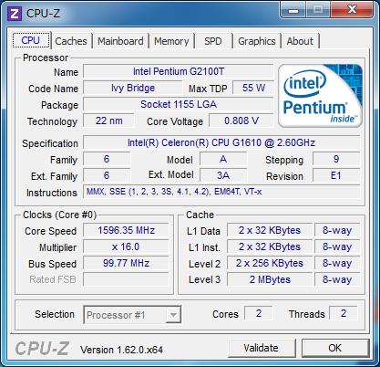CPU-Z(アイドル時)