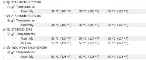 使用時のHDD温度状況