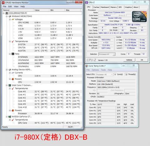 DBX-B i7-980X定格 アイドル時温度