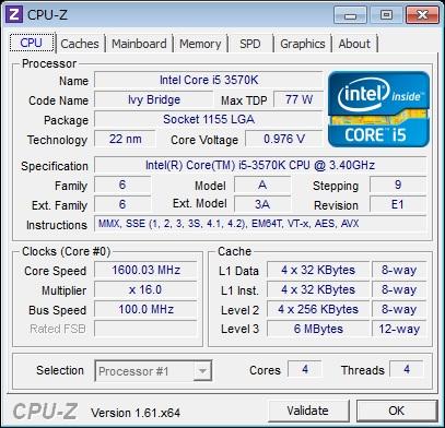 3570KのCPU-Zの結果