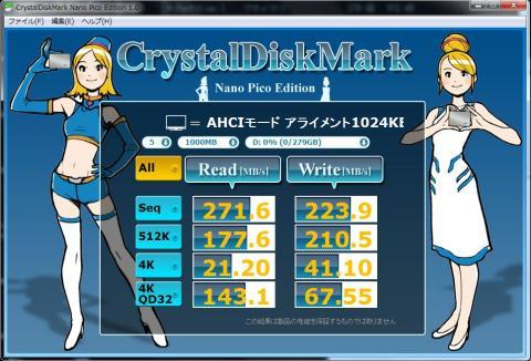 Intel SSD 320 AHCI接続 アライメント=1024