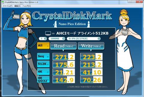 Intel SSD 320 AHCI接続 アライメント=512
