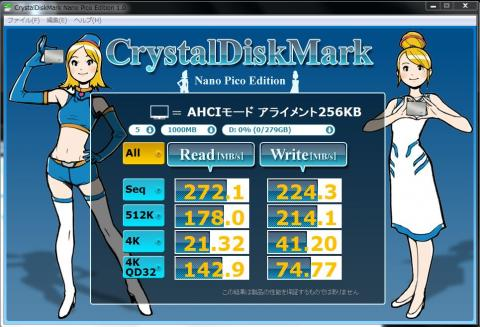 Intel SSD 320 AHCI接続 アライメント=256