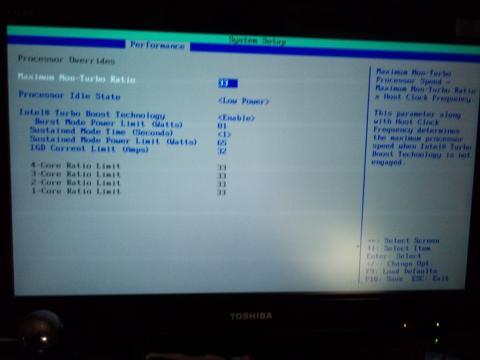 Performance CPU設定画面