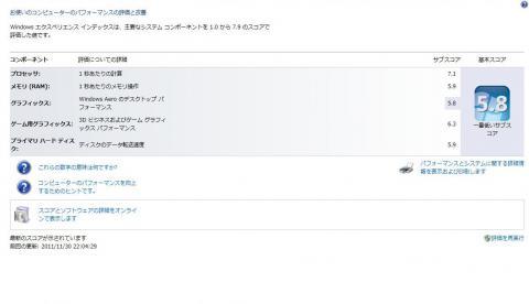 Windowsエクスペリエンス・インデックス