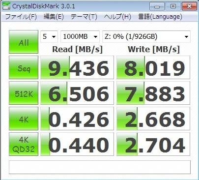CrystalDiskMark LAN接続